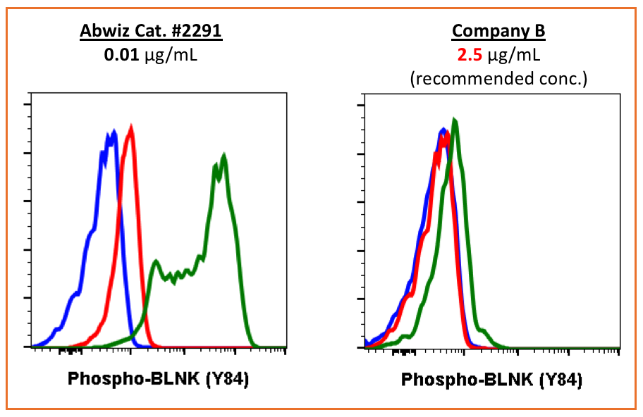 Abwiz phospho BLNK antibody shows higher sensitivity