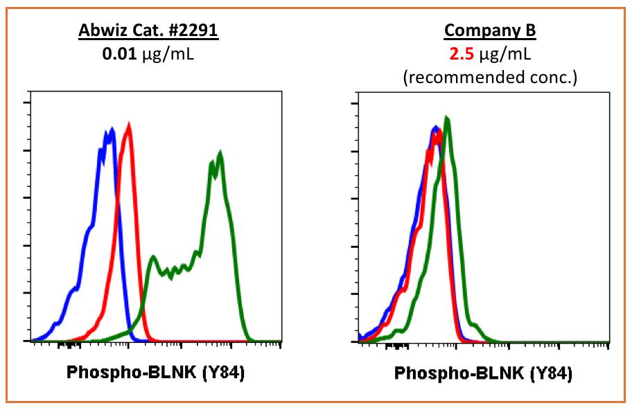 Abwiz phospho BLNK antibody shows higher sensitivity